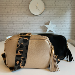 Grey & Taupe Cheetah Bag Strap