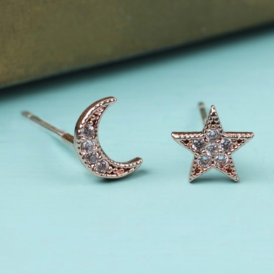 Mismatched Moon & Star Studs, Rose Gold