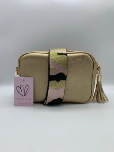 Pale Pink, Gold & Black Camo Bag Strap