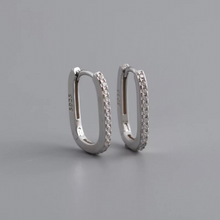 Load image into Gallery viewer, Oval Huggie Hoops with Clear Stones, Silver