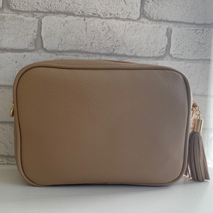 Taupe Dolly Single Zip Cross Body Bag