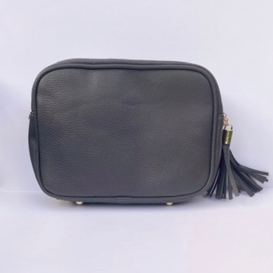 Dark Grey Dolly Double Zip Cross Body Bag. Back in end of January