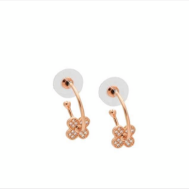 Small Rose Gold Flower Hoops