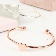 Load image into Gallery viewer, Sasha Heart Bangle, Available in Rose Gold & Silver