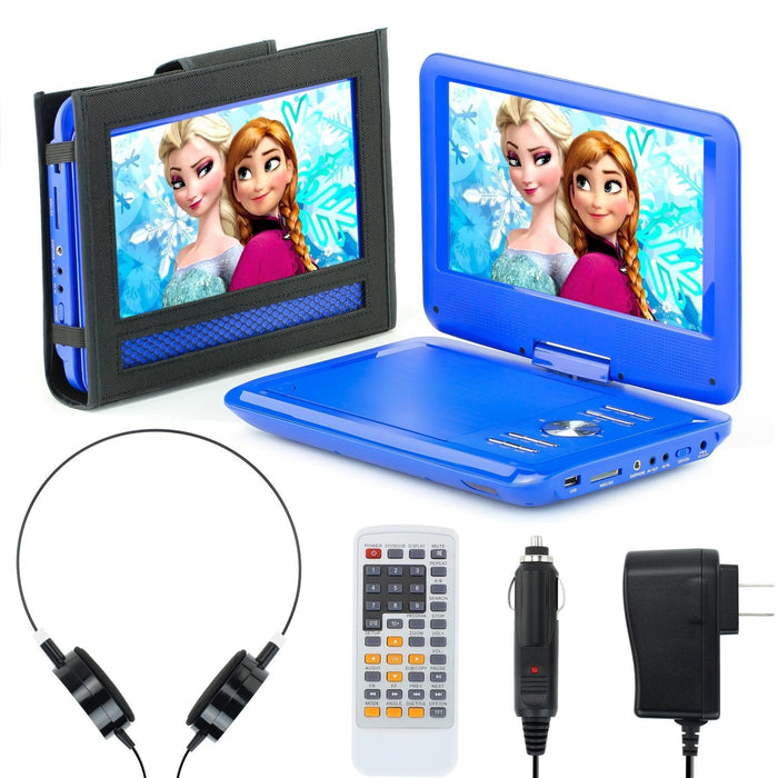"eXuby 11.5"" Portable DVD Player for Car, Plane & More - 7 Car & Travel Accessories Included - 9"" Swivel Screen - Whopping 6 Hour Battery Life - Perfect Portable DVD Player for Kids"