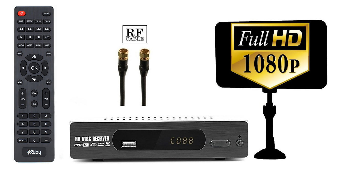 eXuby Digital TV Converter Box 1103+Antenna+RF/Coaxial Cable - Get Rid of Cable Bills - View and Record Local HD Digital Channels for Free - Instant or Scheduled Recording, 1080P HDTV, Electronic Program Guide