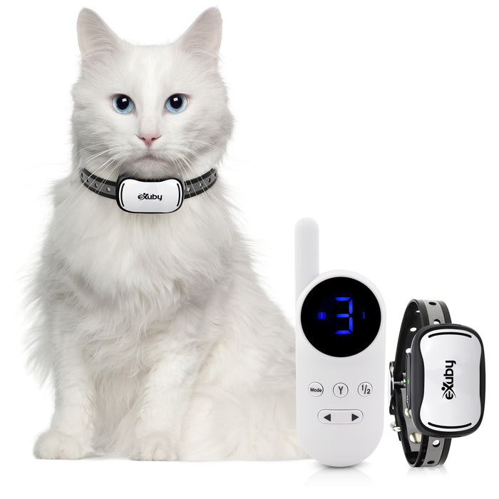 Small Cat Shock Collar w/Remote - Designed for Training Cats - Prevents Unwanted Meowing, Scratching & Roaming - Sound, Vibration & Shock Modes - 9 Intensity Levels - Water-Resistant (White/Black)