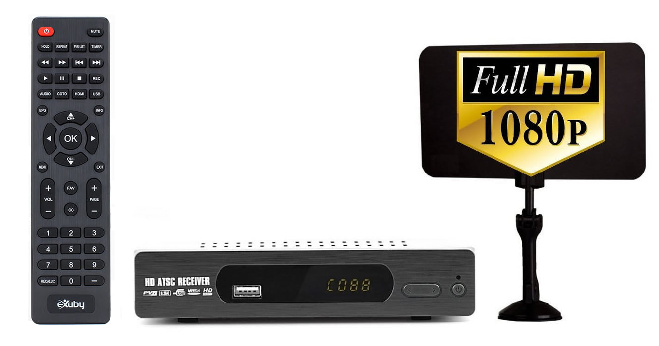 eXuby Digital TV Converter Box 1103+Antenna - Get Rid of Cable Bills - View and Record Local HD Digital Channels for Free - Instant or Scheduled Recording, 1080P HDTV, Electronic Program Guide