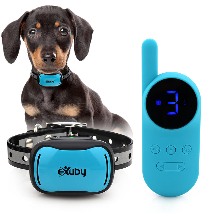 eXuby - Tiny Shock Collar for Small Dogs 5-15lbs - Smallest Collar on The Market - Sound, Vibration, Shock - 9 Intensity Levels - Pocket-Size Remote - Long Battery Life - Waterproof - Teal & Pink