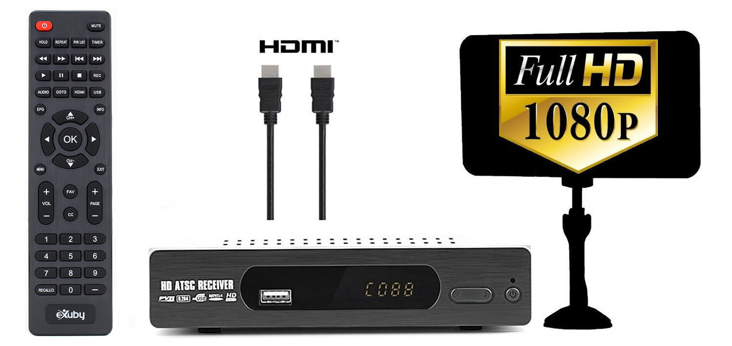 eXuby Digital TV Converter Box 1103+Antenna+HDMI Cable - Get Rid of Cable Bills - View and Record Local HD Digital Channels for Free - Instant or Scheduled Recording, 1080P HDTV, Electronic Program Guide