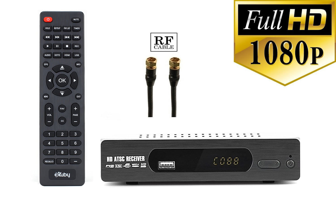 eXuby Digital TV Converter Box 1103+RF/Coaxial Cable - Get Rid of Cable Bills - View and Record Local HD Digital Channels for Free - Instant or Scheduled Recording, 1080P HDTV, Electronic Program Guide