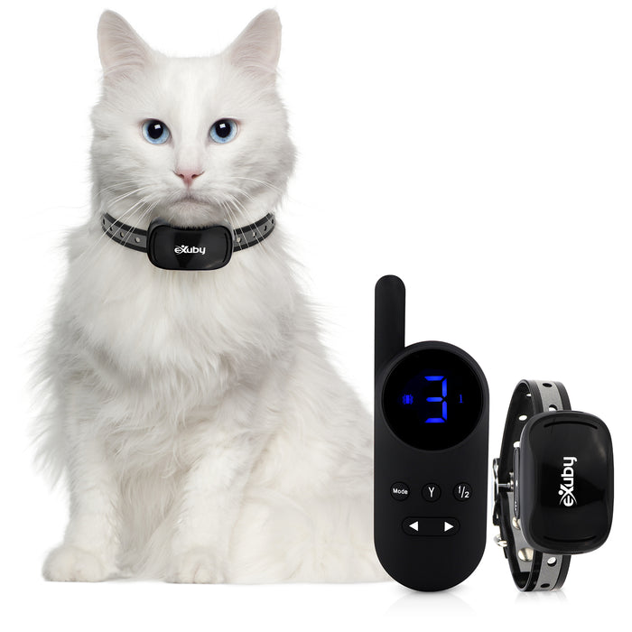 Small Cat Shock Collar w/Remote - Designed for Training Cats - Prevents Unwanted Meowing, Scratching & Roaming - Sound, Vibration & Shock Modes - 9 Intensity Levels - Waterproof (Black/White)