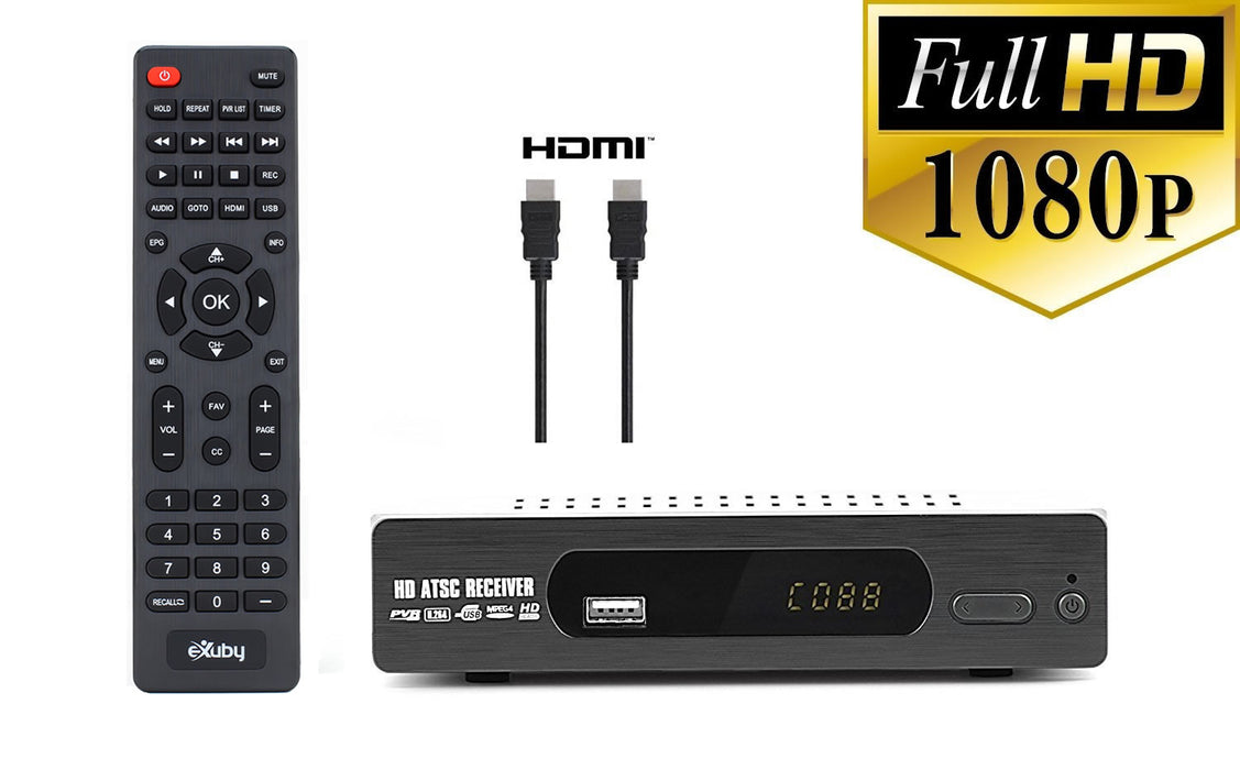 eXuby Digital TV Converter Box 1103+HDMI Cable - Get Rid of Cable Bills - View and Record Local HD Digital Channels for Free - Instant or Scheduled Recording, 1080P HDTV, Electronic Program Guide