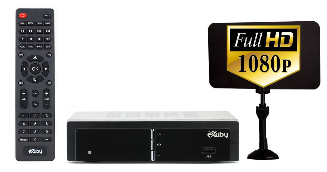 eXuby Digital TV Converter Box 1668+Antenna- Get Rid of Cable Bills - View and Record Local HD Digital Channels for Free - Instant or Scheduled Recording, 1080P HDTV, Electronic Program Guide