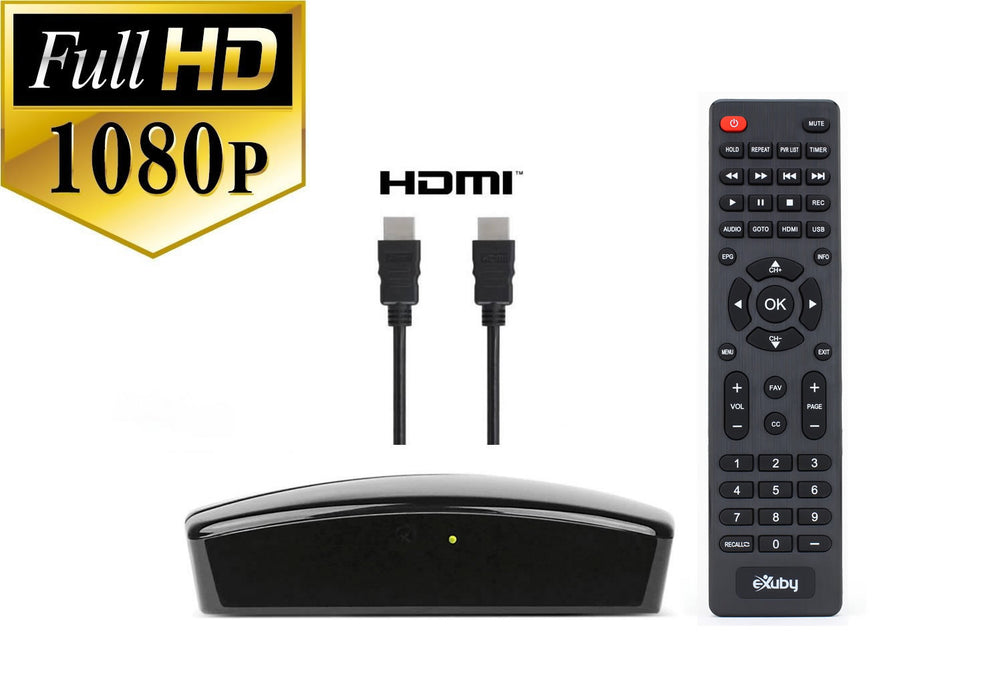 eXuby Digital TV Converter Box 1102+HDMI Cable - Get Rid of Cable Bills - View and Record Local HD Digital Channels for Free - Instant or Scheduled Recording, 1080P HDTV, Electronic Program Guide