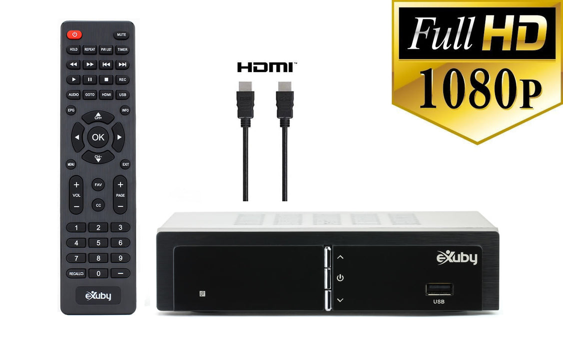 eXuby Digital TV Converter Box 1668+HDMI Cable - Get Rid of Cable Bills - View and Record Local HD Digital Channels for Free - Instant or Scheduled Recording, 1080P HDTV, Electronic Program Guide