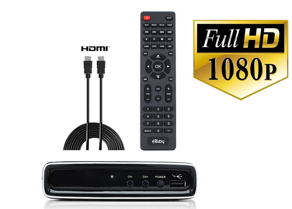 eXuby Digital TV Converter Box 1306+HDMI Cable - Get Rid of Cable Bills - View and Record Local HD Digital Channels for Free - Instant or Scheduled Recording, 1080P HDTV, Electronic Program Guide