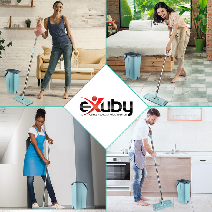 eXuby Flat Mop and Bucket w/ 10 Washable Microfiber Mop Heads - 360° Cleaning Range - Includes Two 5-Liter Containers w/Separate Drain Plugs - Perfect for All Floor Types - Three-Stroke Dryer