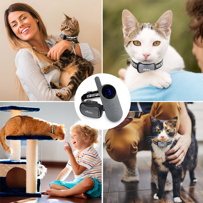 Small Cat Shock Collar w/Remote - Designed for Training Cats - Prevents Unwanted Meowing, Scratching & Roaming - Sound, Vibration & Shock Modes - 9 Intensity Levels - Water-Resistant (Gray/White)