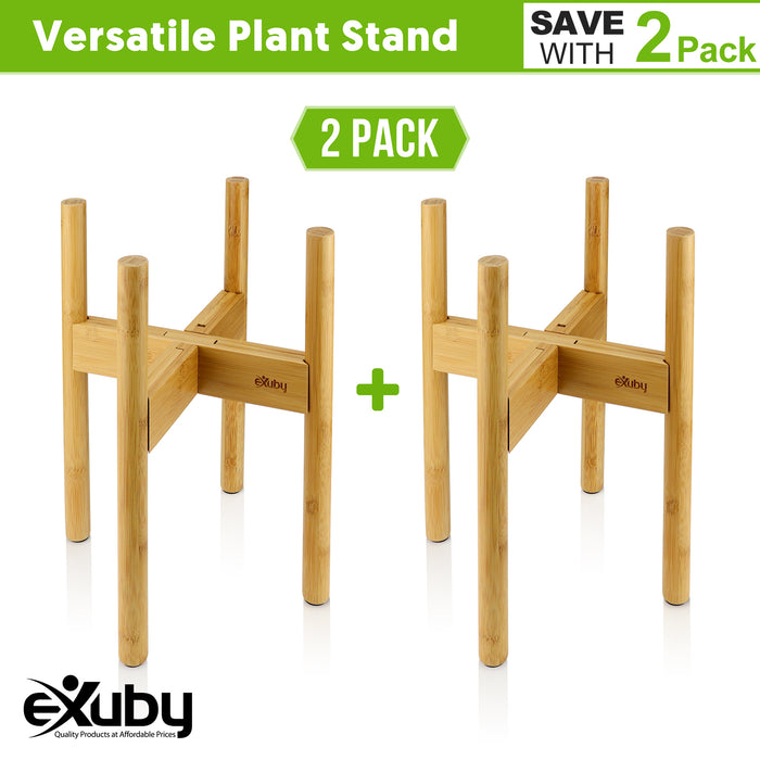 "eXuby - 2-Pack Adjustable Wooden Plant Stands Indoor & Outdoor - Bamboo Construction in Mid-Century Design - Fits Pots 8.5"" to 11.5"" Wide - Adjustable Height - 4 Floor Protectors - Pot Not Included"