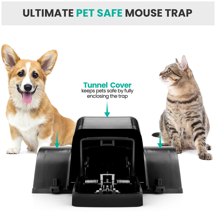 eXuby Pet-Safe Mouse Trap w/ Tunnel Design – Dual Entry for Better Capture Rate - Prevents Accidental Triggering - Avoid Finger Snapping - Setup in Seconds - Wash & Reuse - No Harmful Poison