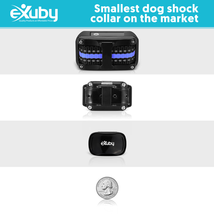 eXuby - Tiny Shock Collar for Small Dogs 5-15lbs - Smallest Collar on The Market - Sound, Vibration, Shock - 9 Intensity Levels - Pocket-Size Remote - Long Battery Life - Waterproof - Black & White