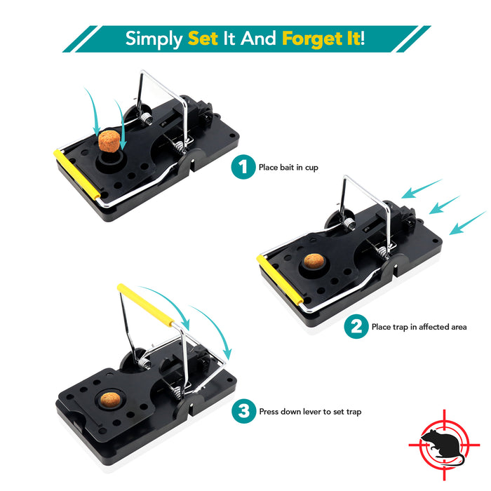 Open Style Large Powerful Rat Traps Yellow - (4 to 20 pack)
