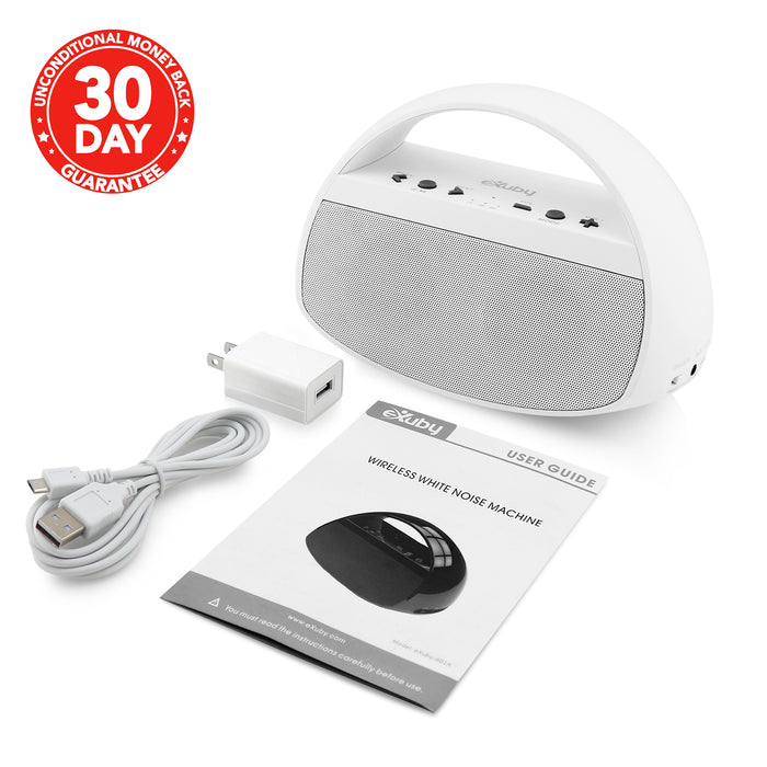 White Noise Machine Baby - Put Your Baby to Sleep w/ 20 Soothing Sounds; Fan, Rain, Ocean, Office & More - Stylish & Modern Design Bluetooth Speaker - Crisp Stereo Sound Matte White