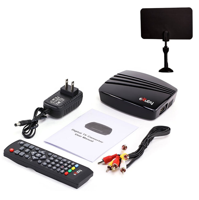 eXuby Digital TV Converter Box 1102+Antenna - Get Rid of Cable Bills - View and Record Local HD Digital Channels for Free - Instant or Scheduled Recording, 1080P HDTV, Electronic Program Guide