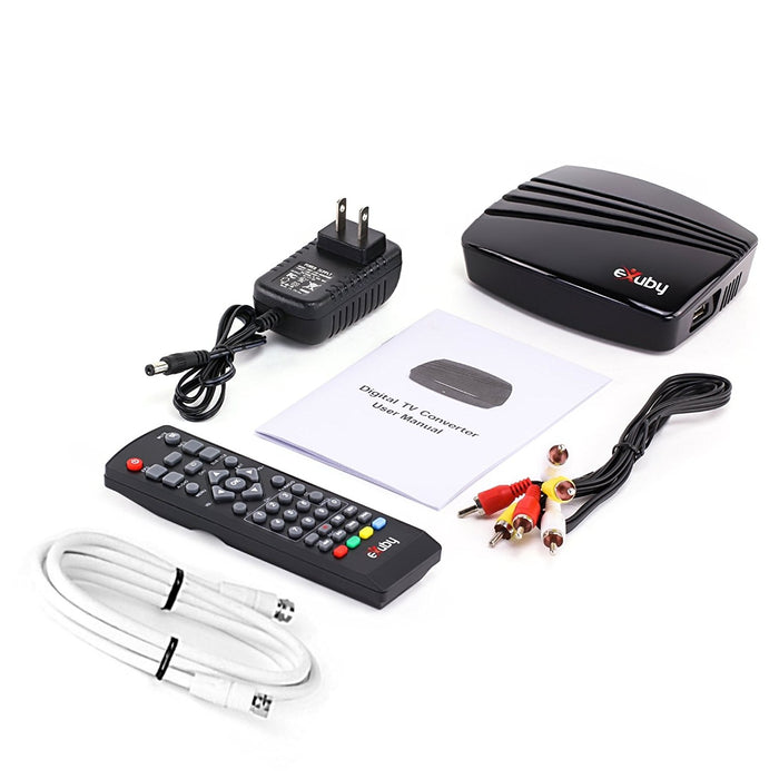 eXuby Digital TV Converter Box 1102+RF/Coaxial Cable - Get Rid of Cable Bills - View and Record Local HD Digital Channels for Free - Instant or Scheduled Recording, 1080P HDTV, Electronic Program Guide
