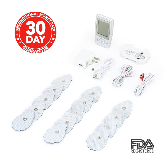 eXuby TENS Unit Machine with 30 Palm Pads - Relieve Pain Quickly - 16 Unique Modes for Different Muscles - As Powerful as Physical Therapist Devices - Portable - Rechargeable - FDA Registered