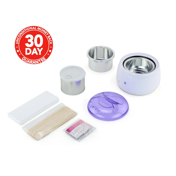 eXuby Wax Warmer Kit for Hair Removal – Includes: 1 Pound Honey Hard Wax, 50 Wax Strips, 10 Wax Sticks, 10 Wax Remover Wipes - Automatic Temperature Control(ATC) -Hard Wax Is Better Than Wax Beans