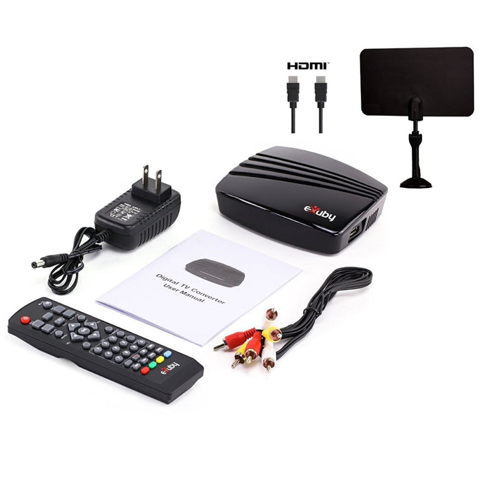 eXuby Digital TV Converter Box 1102+Antenna+HDMI Cable - Get Rid of Cable Bills - View and Record Local HD Digital Channels for Free - Instant or Scheduled Recording, 1080P HDTV, Electronic Program Guide