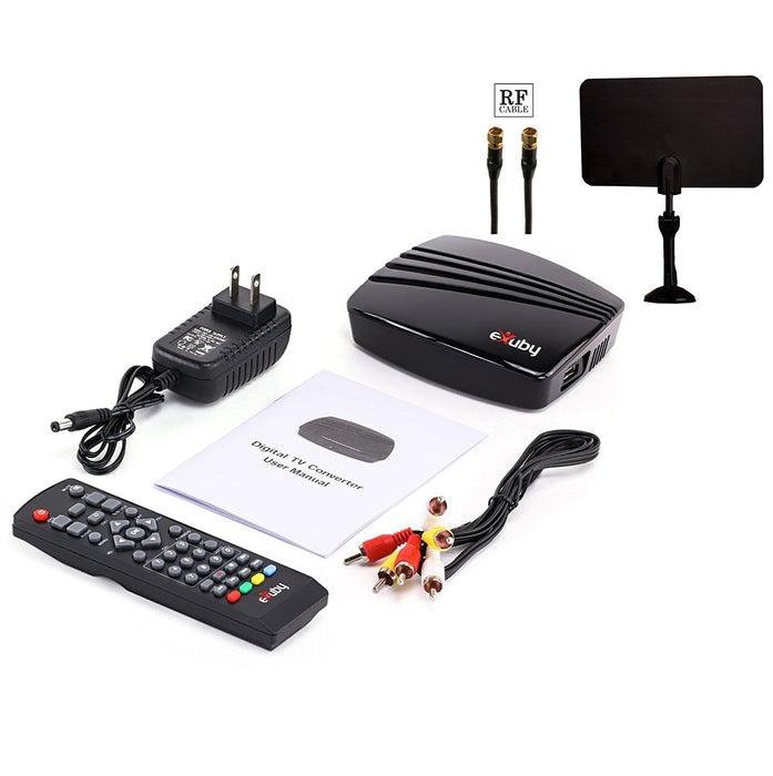 eXuby Digital TV Converter Box 1102+Antenna+RF/Coaxial Cable - Get Rid of Cable Bills - View and Record Local HD Digital Channels for Free - Instant or Scheduled Recording, 1080P HDTV, Electronic Program Guide