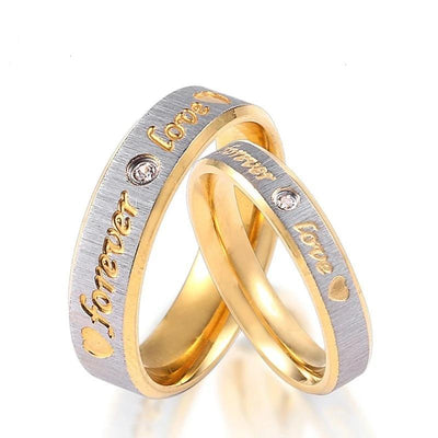 Forever Love Gold Plated Stainless Steel Ring