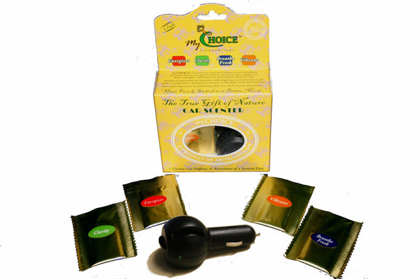 Natural Car Air Fresheners - 5 Aromatherapy Blends of 100% Pure Essential Oils & Diffuser - myChoice Aromatherapy