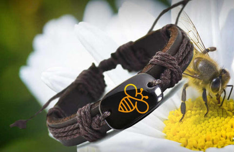 Save The Bees Handmade Leather Bracelet - myChoice Aromatherapy