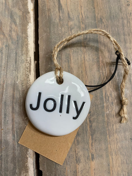 Stoneware tag ornament jolly