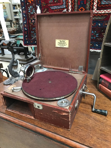 Antique Portable Phonograph Gramophone