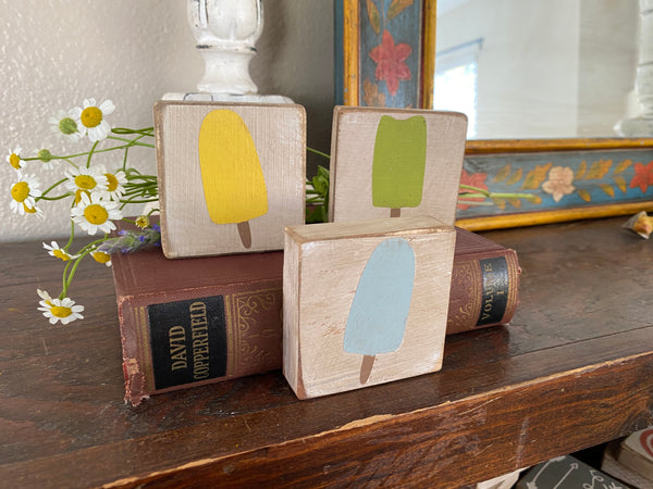 Set of 3 Handmade popsicle small block