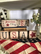 Handmade Small wood block home decor | patriotic| Shelf Decor