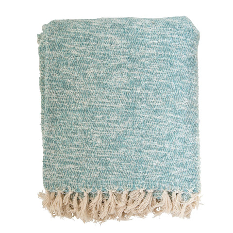 Aqua cotton throw
