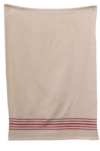 red striped tea towel