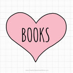 Books Heart Svg Saying
