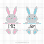 Bunny Split Monogram Svg Clipart