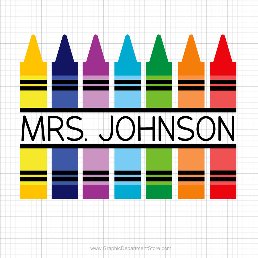 Crayons Monogram Svg Clipart