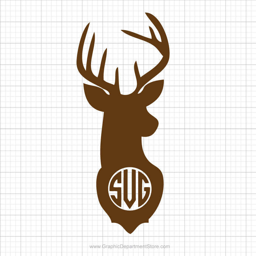 Deer Head Monogram Svg Clipart