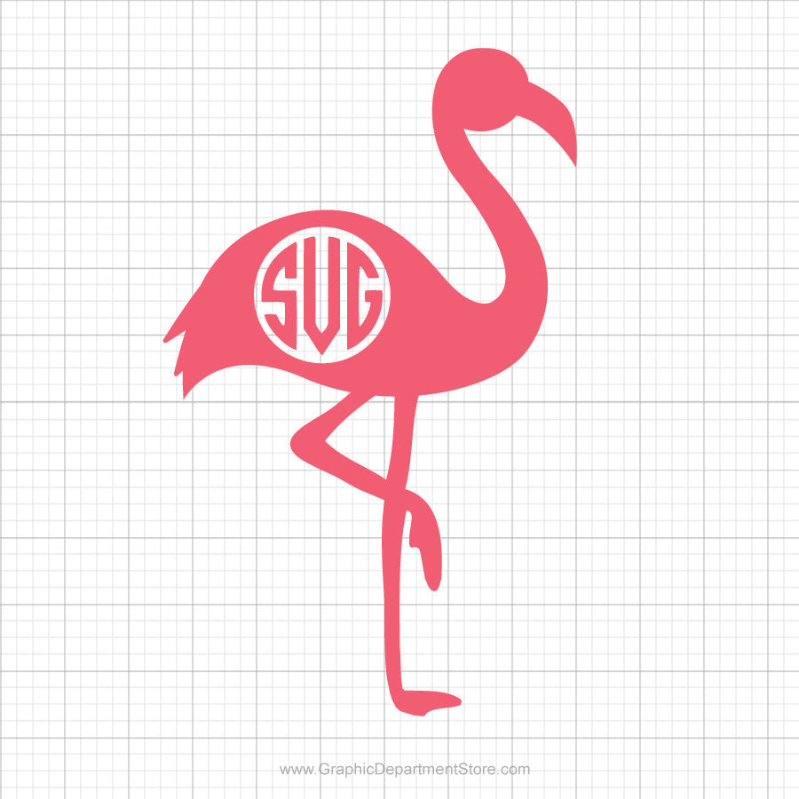 Flamingo Monogram Svg Clipart