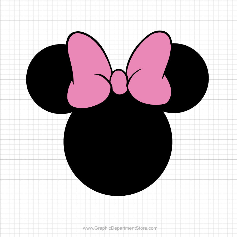 Minnie Mouse Head Pink Bow Svg Clipart