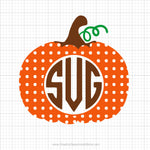 Polka Dot Monogram Pumpkin Svg Clipart